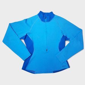 PATAGONIA two tone blue wool base layer 1/2 zip, M